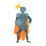 Knight Fairy With Orange Cape And Shield Tale Cartoon Childish Character