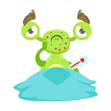 Sick Funny Monster With Fever In Bed, Green Alien Emoji Cartoon Character Sticker