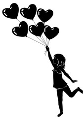 Silhouette beautiful little girl with heart balloons
