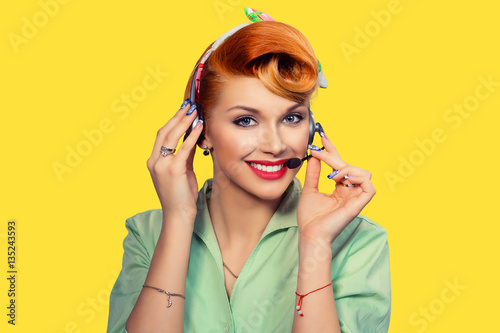 Girl with headset, customer service Poster
