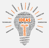 Vector word cloud of ideas light bulb / vector illustration eps-10. - 135257192