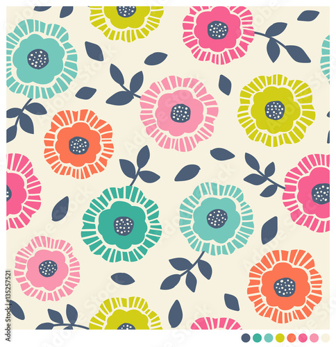Fototapeta Seamless pattern of colorful flower and leaf vector