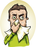 A cartoon man with a cold sneezes and blows his nose into a handkerchief.