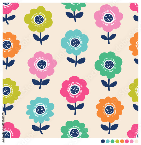 Fototapeta Seamless pattern of flower garden vector