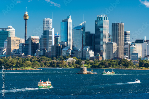 Poster Sydney cityscape view with Sydney Harbour