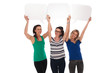three happy women holding blank speech bubbles over their heads