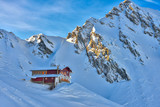 Chalet during winter at Balea Lake in the Fagaras mountains, Romania