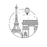 Round the emblem of the city of Paris drawn in a linear style, depicting a vector of the landmark of the capital of France.