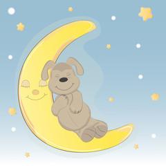 Cute cartoon dog who sleep on the moon.