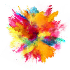 Explosion of colored powder on white background © Jag_cz