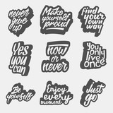 set of inspirational quote retro illustrations. black and white vector typography