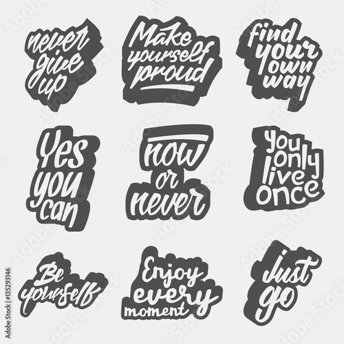 Tubular frame with fabric Positive Typography set of inspirational quote retro illustrations. black and white vector typography