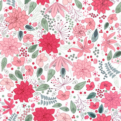 Floral spring template with abstract flowers.