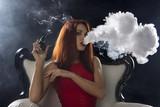 sexy woman smoking electronic cigarette, vape mod concept