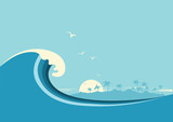 Big ocean wave and tropical island.Vector blue background - 135300747