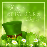 Patricks Day background with hat of leprechaun