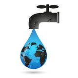 A drop of water from the tap and earth