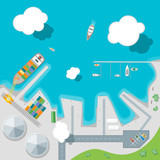 Cartoon Port Town and Barge Ship. Vector - 135308967