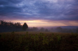 Twilight landscape. Morning scenery in nature with dramatic sky and mist on rainy weather