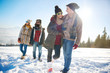 Two couples going for a winter walk