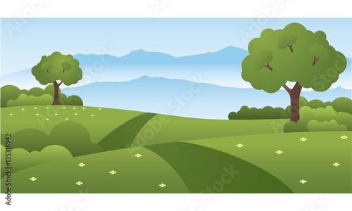 Foto op Canvas Pistache Beautiful Green Park Hills Landscape Vector Illustration