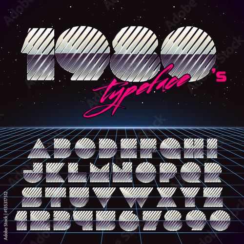 Shiny Chrome Retro Futuristic Font  Stylish Retro Synth Wave
