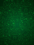 Green  background for Patricks day with ber mug, horseshoe, hat