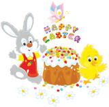 Easter card with a small grey bunny, a yellow chick and a colorfully decorated cake