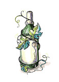 Watercolor bottle of wine in grape leaves in graphic style hand-drawn vector illustration.