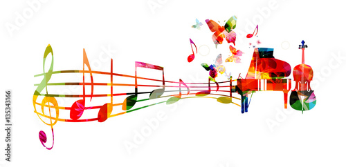 Colorful music background with piano and violoncello vector illustration. Music instruments with music notes
