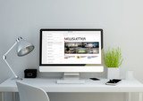 modern clean workspace with newsletter on screen