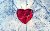 Love red heart frozen in ice.  Valentine