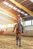 Frau reitet Hannoveraner Pferd in Reithalle - 135350167