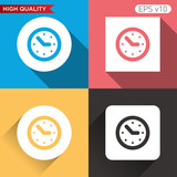 Colored icon or button of watch or clock symbol with background