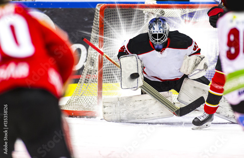 Ice Hockey Goalie - Light burst in the background Poster