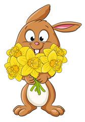 Vektor Illustration eines Häschens mit Blumenstrauß
