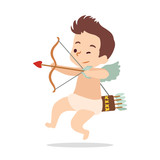 Cupid shoots a bow. Vector illustration