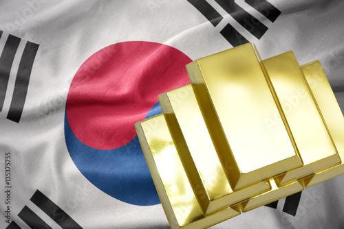 shining golden bullions on the south korea flag