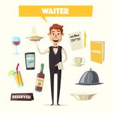 Funny waiter, cute character. Vector cartoon illustration