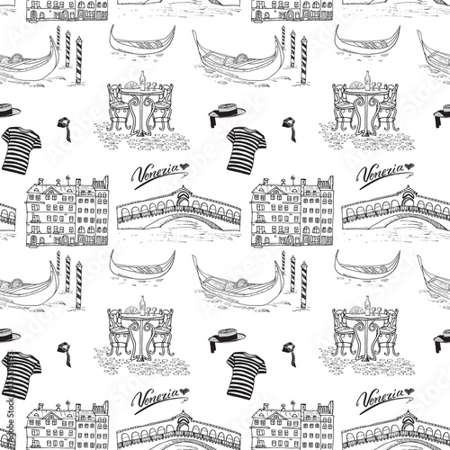 Tapeta Venice Italy seamless pattern. Hand drawn sketch with gondolas, gondolier clothes, houses, market bridge and cafe table with chairs. Doodle drawing isolated on white.