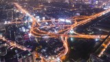 Timelapse of Bangkok city night view with main traffic high way,Thailand