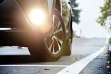 Black suv vehicle car auto detail wheel front