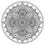 Black and white mandala pattern. Vector illustration for coloring book pages, wall murals & tattoo prints.