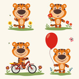 Vector set funny tiger plays on meadow. Collection isolated tiger on bicycle, with balloon and flower in cartoon style.