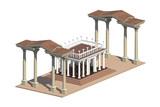 Визуализация классической ордерной колоннады в античном стиле на фоне неба
