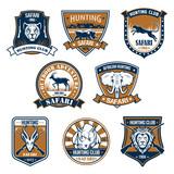 Heraldry icons of wild safari animals