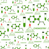 Seamless vector chemistry and research pattern - tubes with liquid, burner with flame and molecules in green color. Endless texture for documents, textile, wrap or wallpaper.