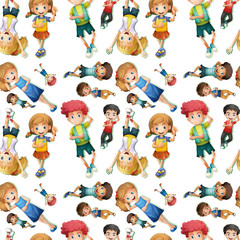 Seamless background design with happy kids