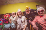 Seniors making party in the hospice