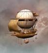 Steampunk vintage airship